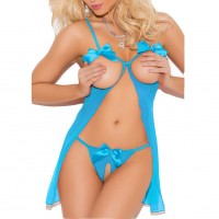 Mesh Cupless Babydoll with Bows Straps - Blue