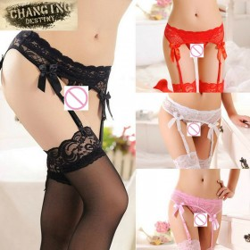 Lace Top Stockings + Garter Belt + G-String, 3 Pc Set
